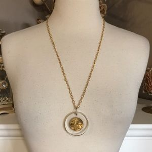 Jewelry - Vintage Gold Lucky Coin in Lucite Necklace